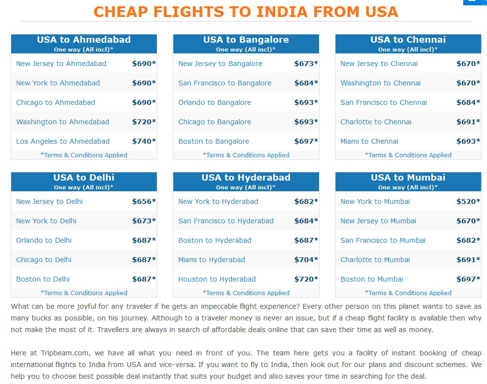 Cheap Flights To India From Usa With Their Prices