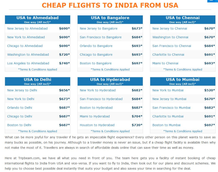Cheap Flights to India From USA with Prices