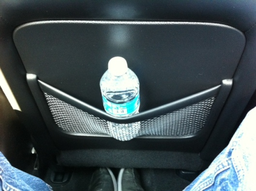 Infiniti G37 seat pocket with watter bottle